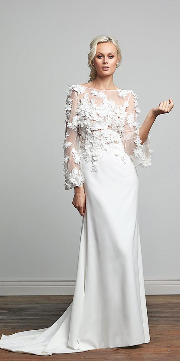 barbara kavchok wedding dresses 2018 with long sleeves sheer bodice crepe skirt floral appliques