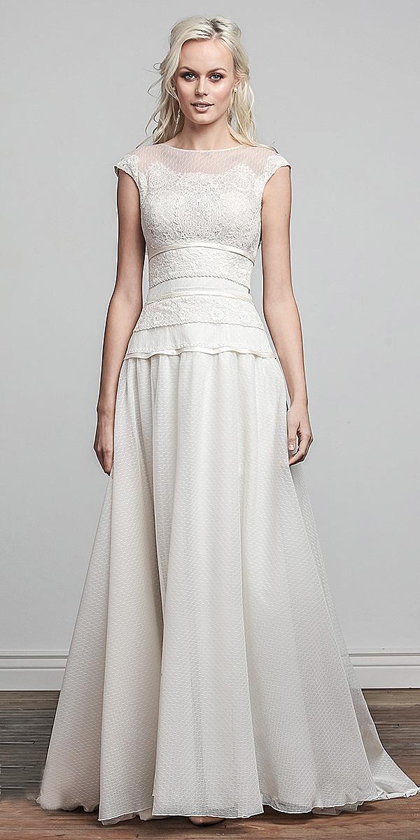 barbara kavchok wedding dresses simple floral embellishment 2018