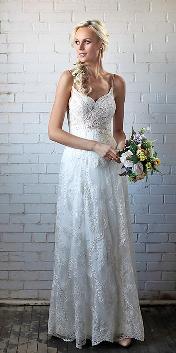 barbara kavchok wedding dresses spaghetti strap sweetheart a line lace 2018