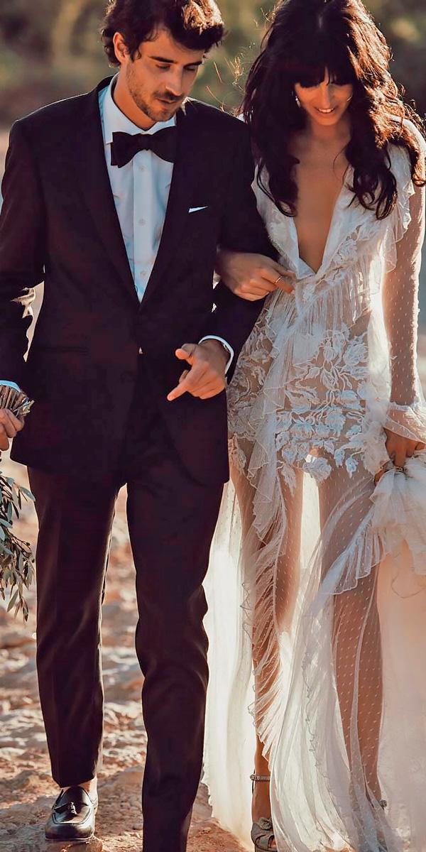 beach wedding dresses boho v neckline with sleeves and illusion skirt tali