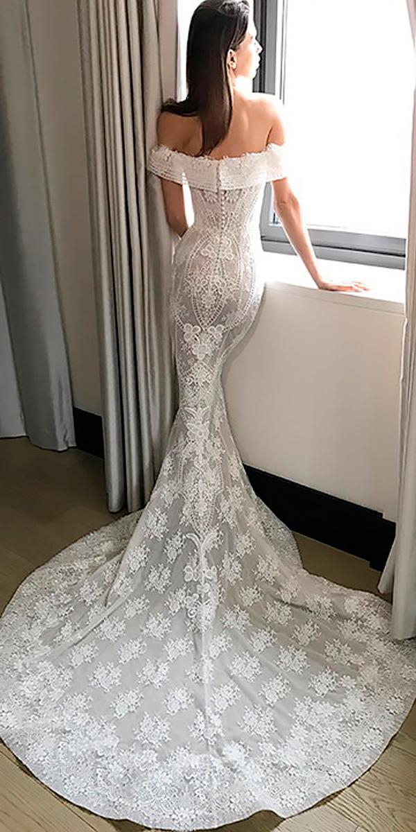 beach wedding dresses lace mermaid off the shoulder with train pallas couture