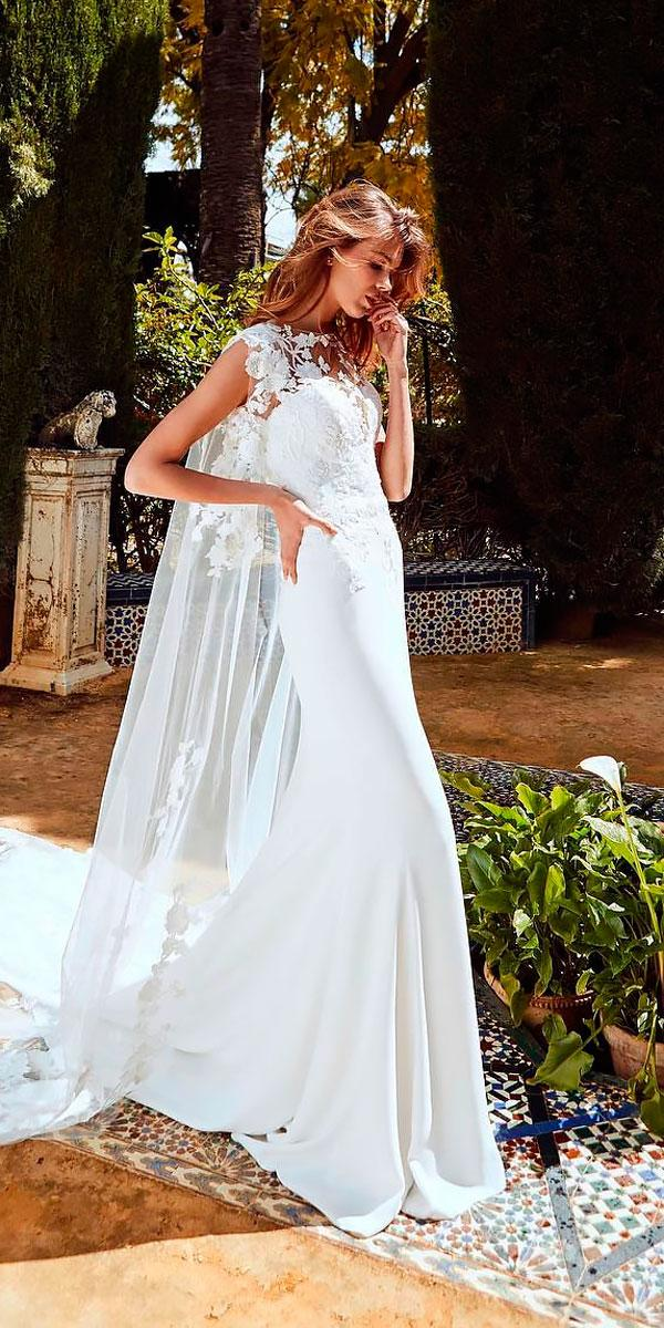 beach wedding dresses sheath bateau neckline lace with short sleeves pronovias
