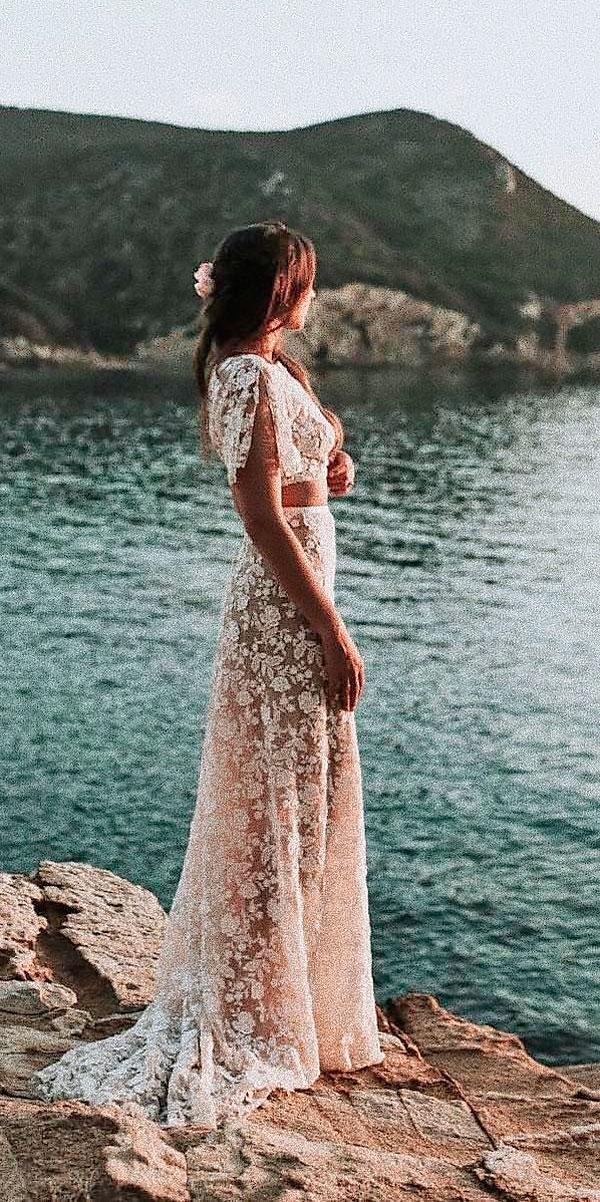beach wedding dresses sheath blush boho separates lace floral rime arodaky
