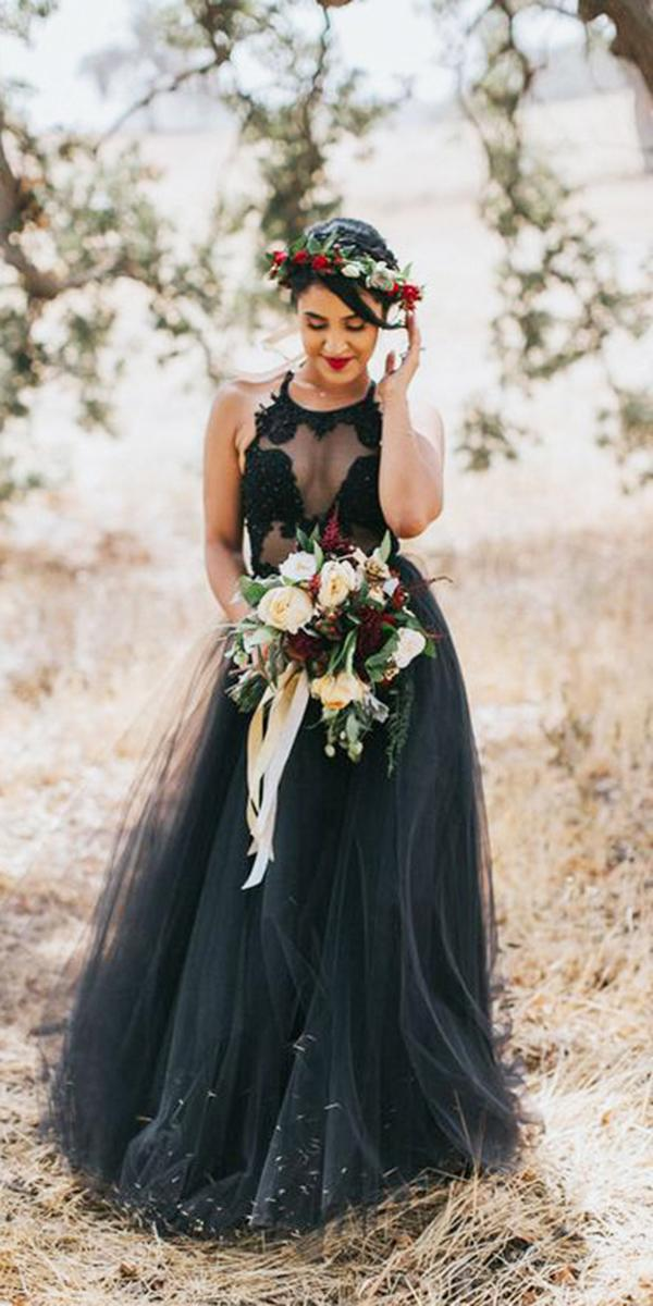 black wedding dresses a line lace top tulle skirt jes workman photography