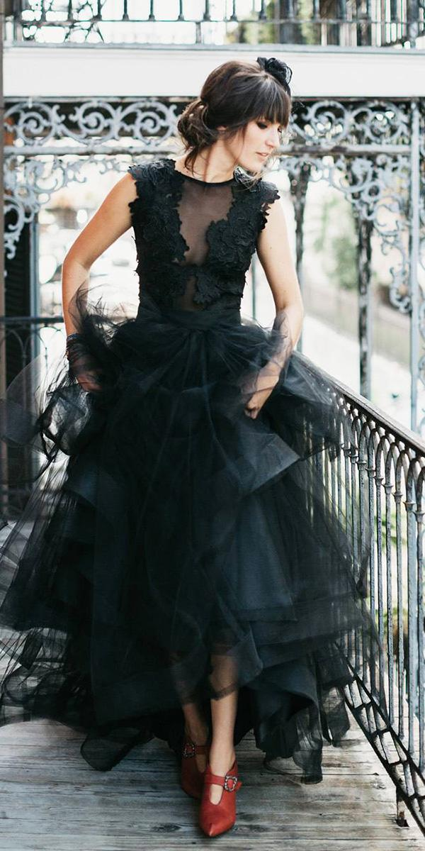 black wedding dresses a line lace top tulle skirt sweet caroline styles