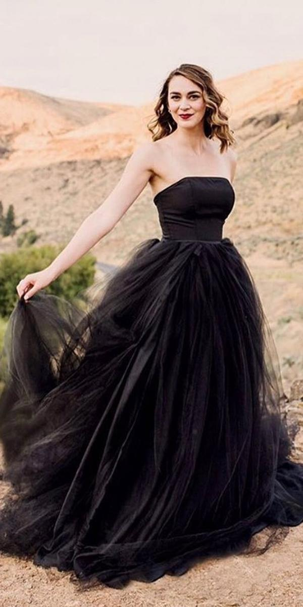 black wedding dresses a line straight across tulle skirt french knot couture
