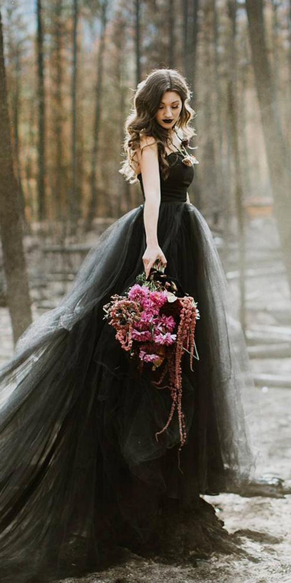 black wedding dresses ball gown straight accross tulle skirt gothic french knot couture