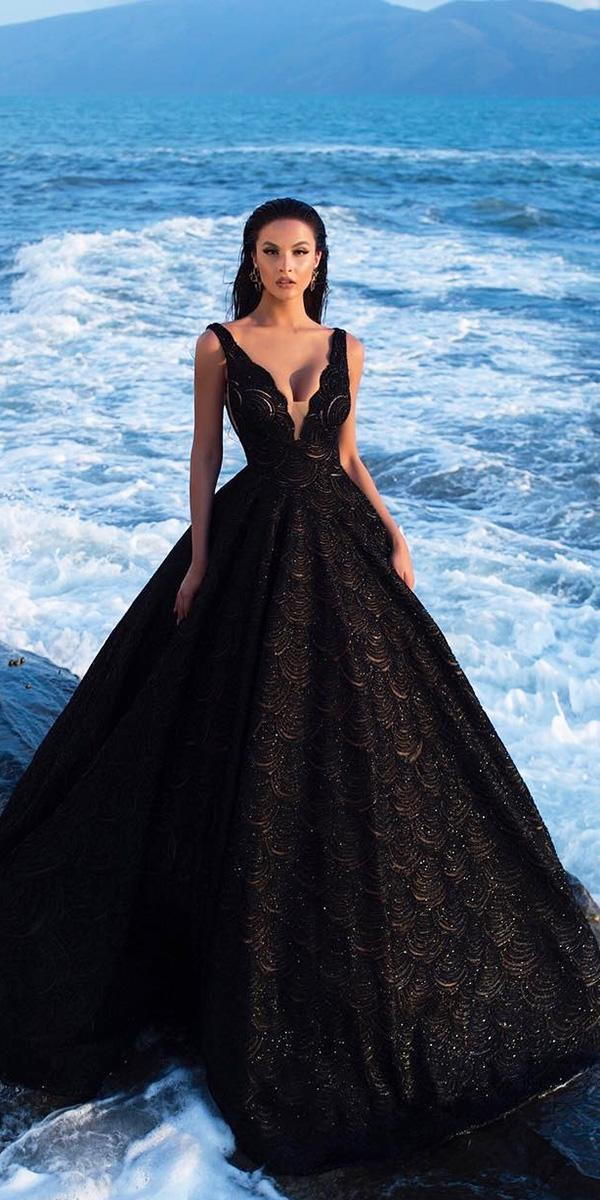 black wedding dresses ball gown v neckline lace endrit mertiri