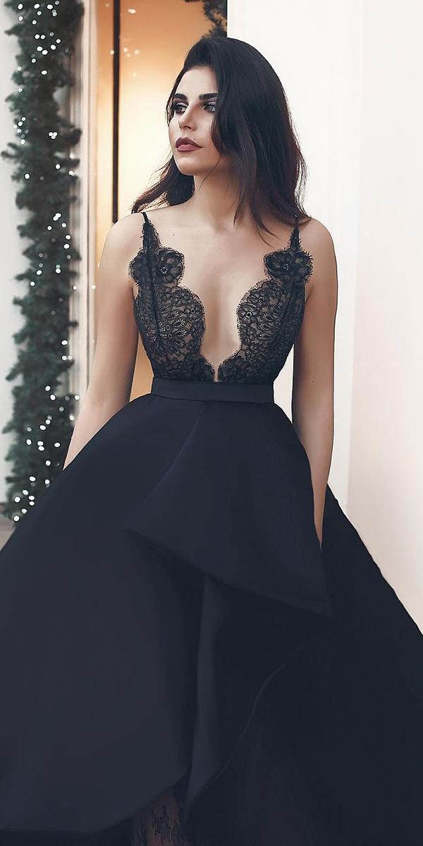 black wedding dresses ball gown with spaghetti straps lace said mhamad photography