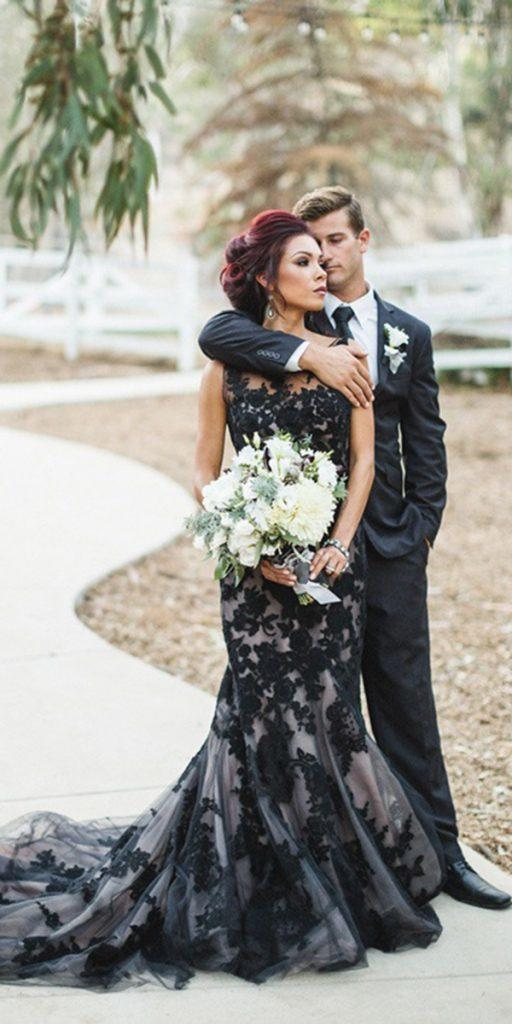 black wedding dresses mermaid full lace illusion neckline here comes the bride.