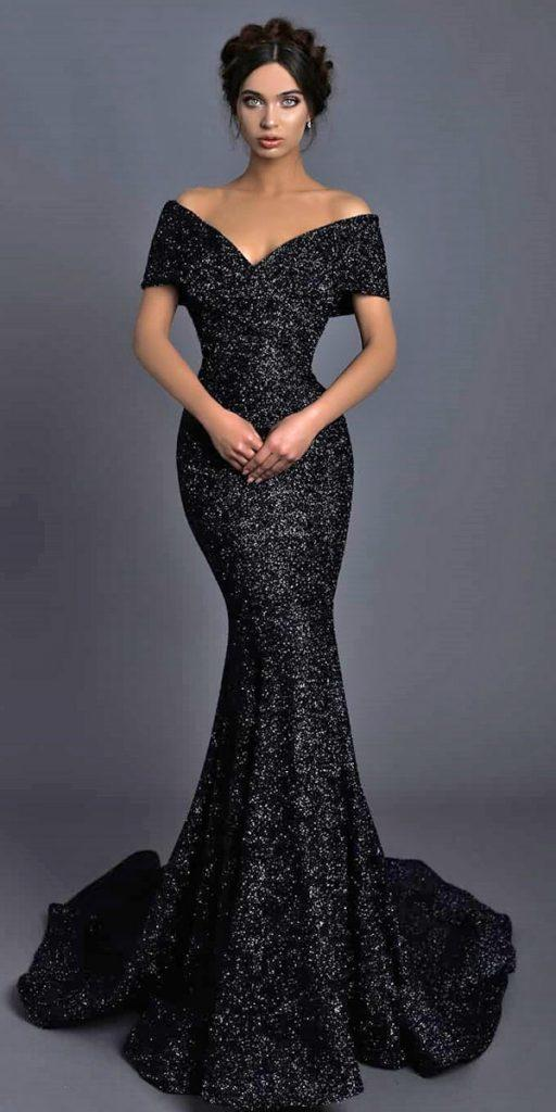 black wedding dresses mermaid off the shoulder sequins tarikediz