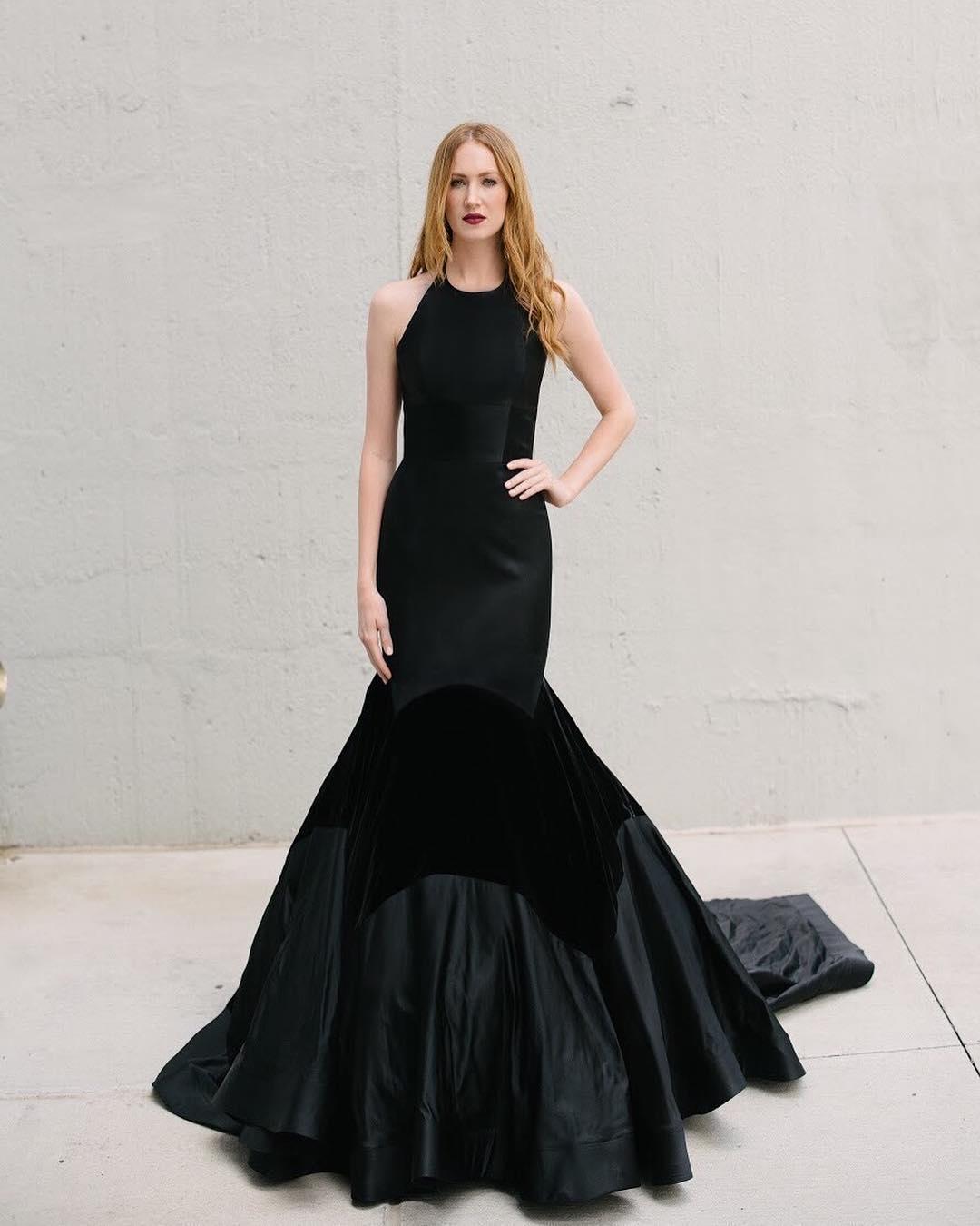 Black wedding dresses mermaid simple jewel neckline tara for Jewel neckline wedding dress