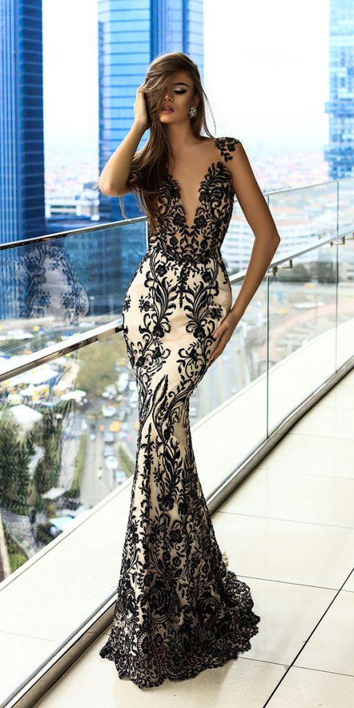 black wedding dresses mermaid with white lace deep v neckline daria karlozi