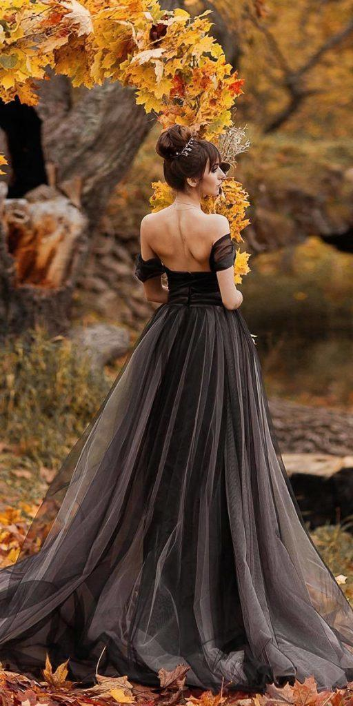 black wedding dresses off the shoulder simple low back olenka muratova