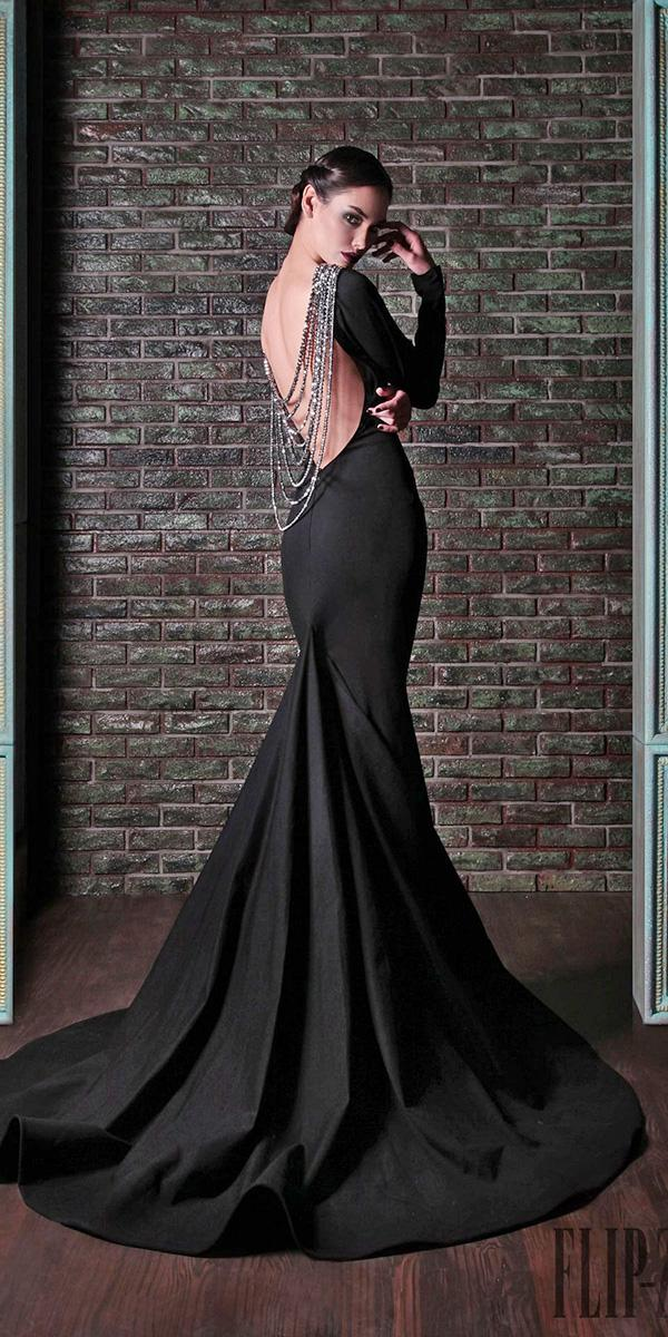 black wedding dresses vintage mermaid with long sleeves rami kadi