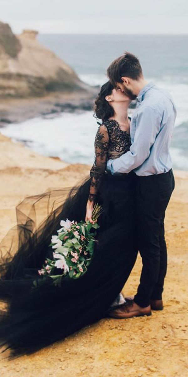 black wedding dresses with long sleeves mari sabra photography