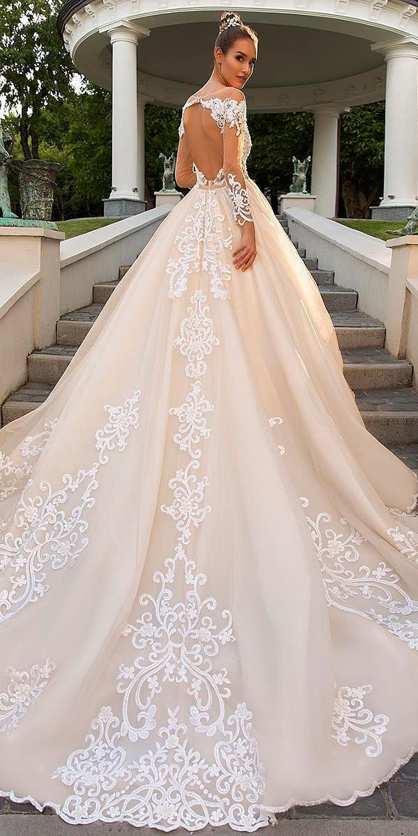 blush a line with long sleeves embroidered lace and keyhole back train 2017 crystal design wedding dresses