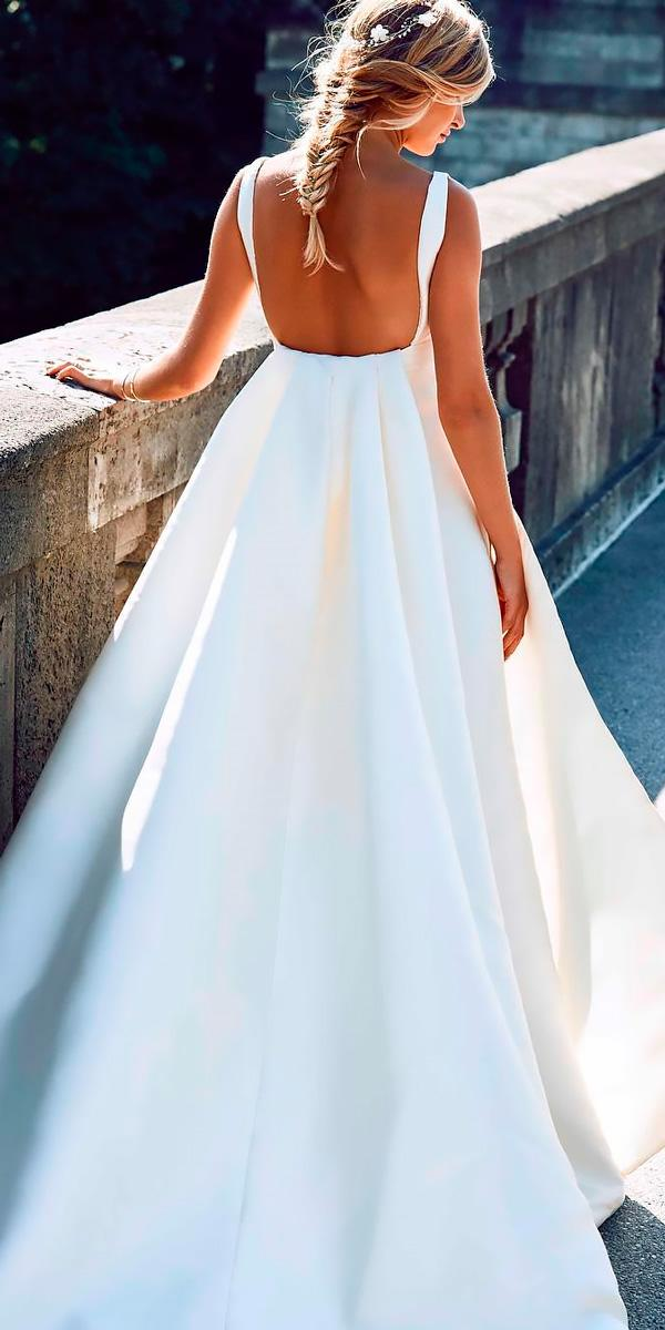 casual ball gown open back with straps beach wedding dresses pronovias
