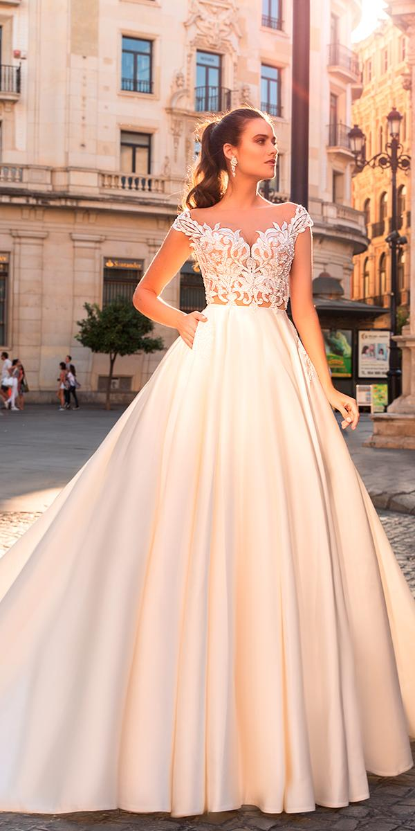 crystal design wedding dresses 2017 a line with lace top and off shoulder and train