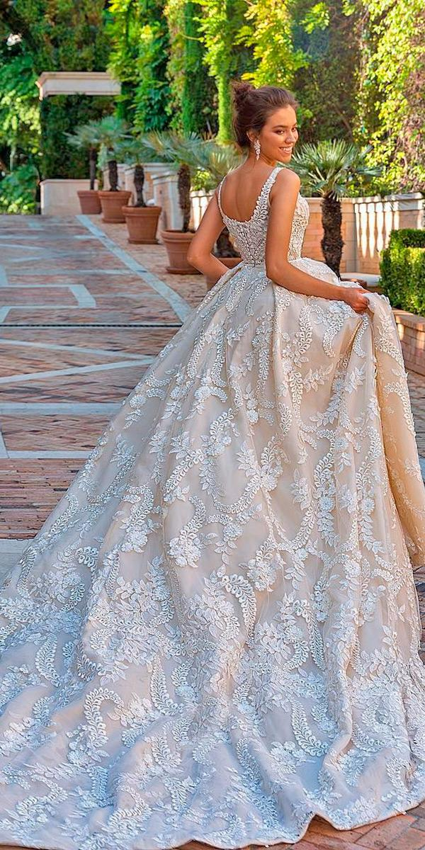 crystal design wedding dresses 2018 ball gown with 3d floral lace and long train