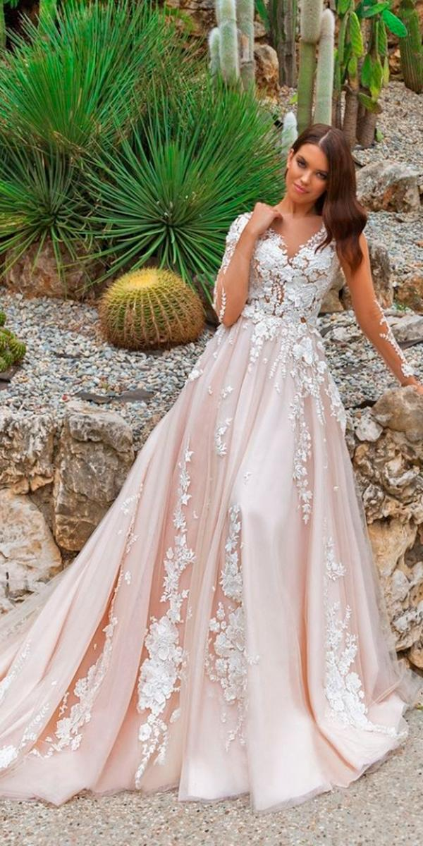 crystal design wedding dresses 2018 a line with 3d floral lace and v neck and illusion sleeves and train