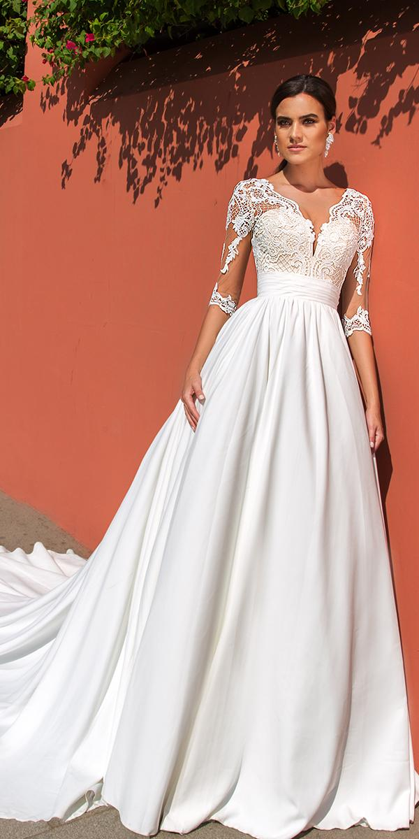 crystal design wedding dresses a line with lace top and illusion sleeves and train