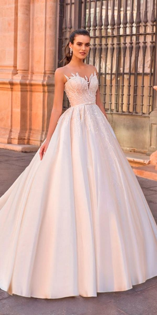 crystal design wedding dresses ball gown with lace top and strapless sweetheart and train