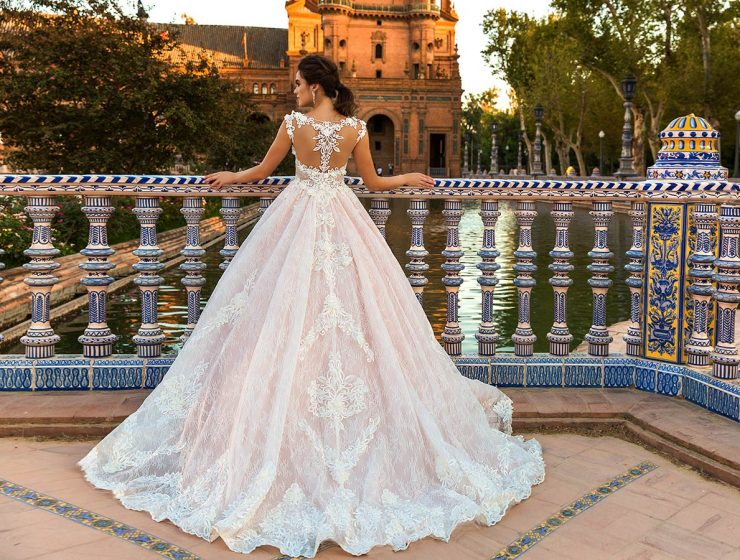 crystal design wedding dresses a line with unique back with beading crystals and and train