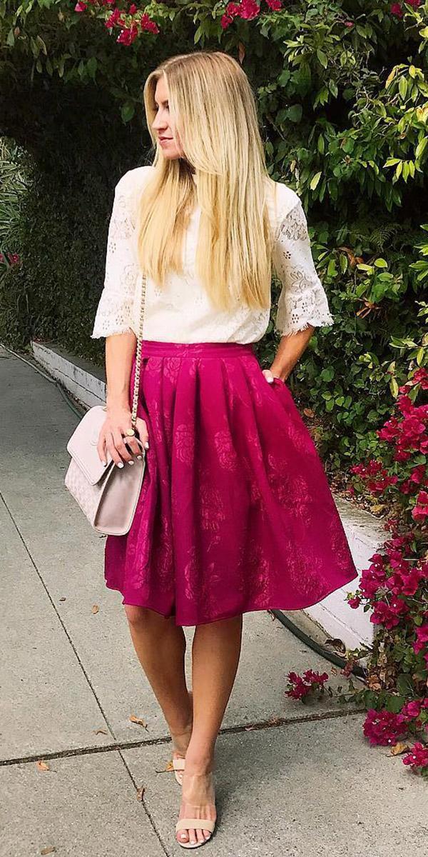 fall wedding guest dresses outfits burgundy skirt rachel parcell