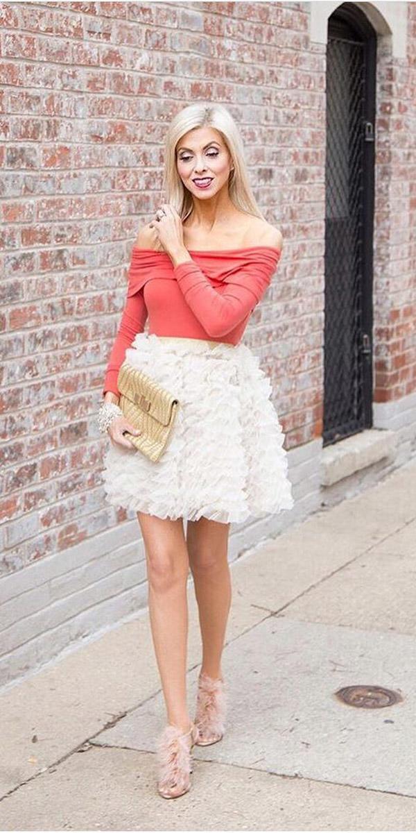fall wedding guest dresses ruffled skirt bliss tulle
