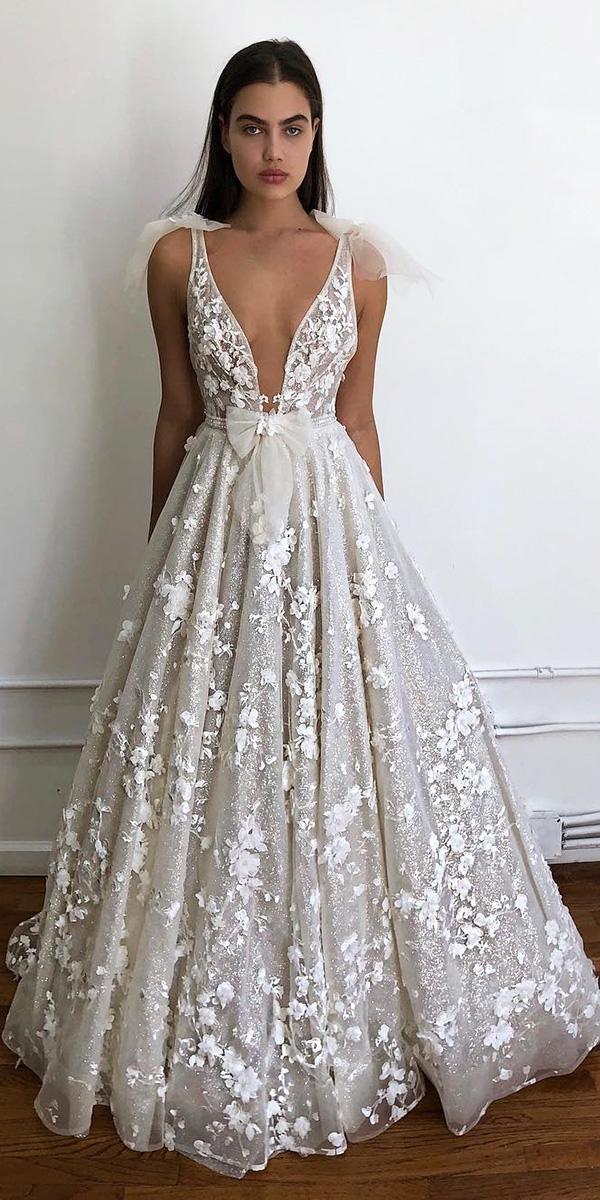 floral wedding dresses a line deep v neckline 3d white berta