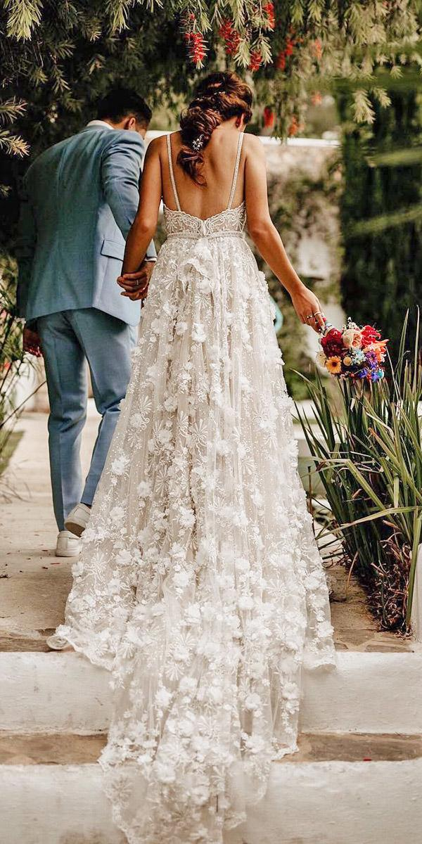 floral wedding dresses a line with straps floral appliques ivory merve and nils