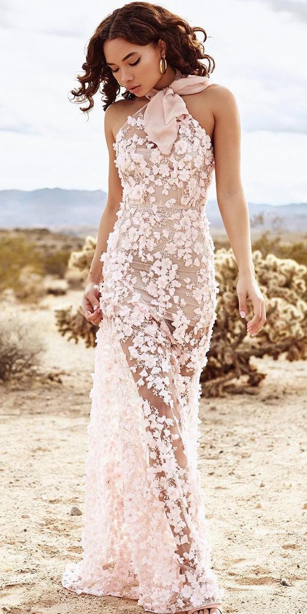 floral wedding dresses halter neckline 3d floral pink nude lurelly
