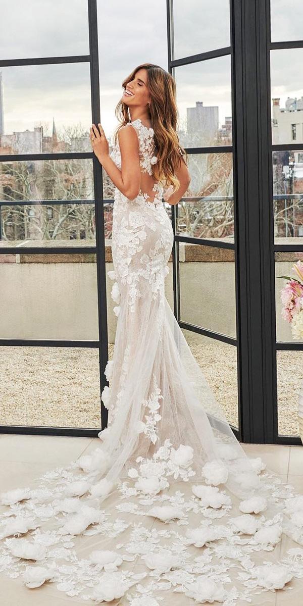 floral wedding dresses mermaid with 3d white pronovias