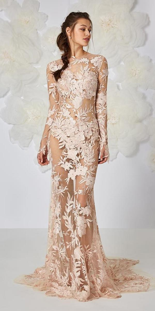 floral wedding dresses sheath with long sleeves nude floral embroidered unique ateliereme