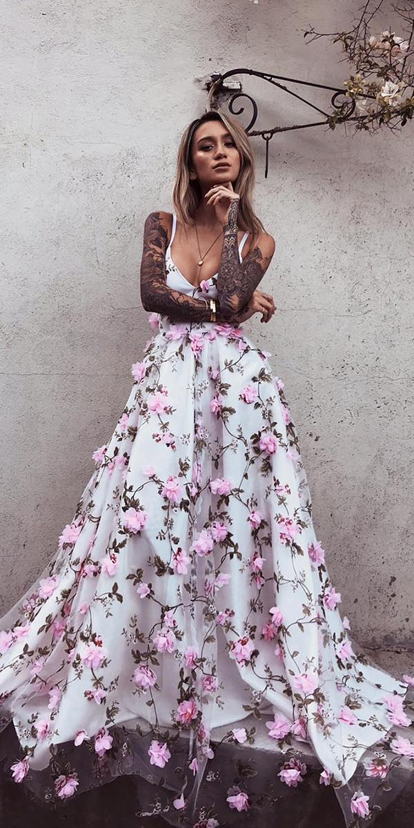 floral wedding dresses with spaghetti straps 3d floral for beach lurelly