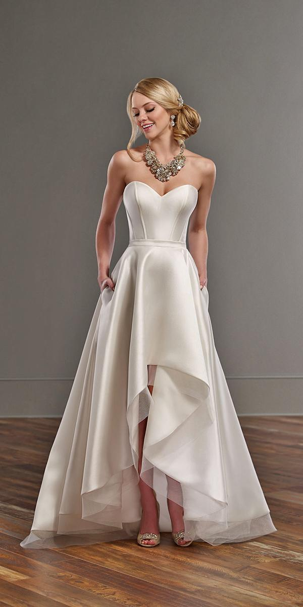 high low a line with strapless sweetheart simple martina liana silk wedding dresses