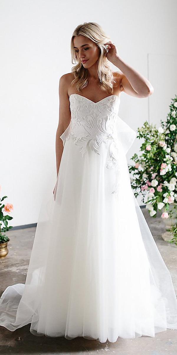 karen willis holmes wedding dresses a line sweetheart neckline floral appliques
