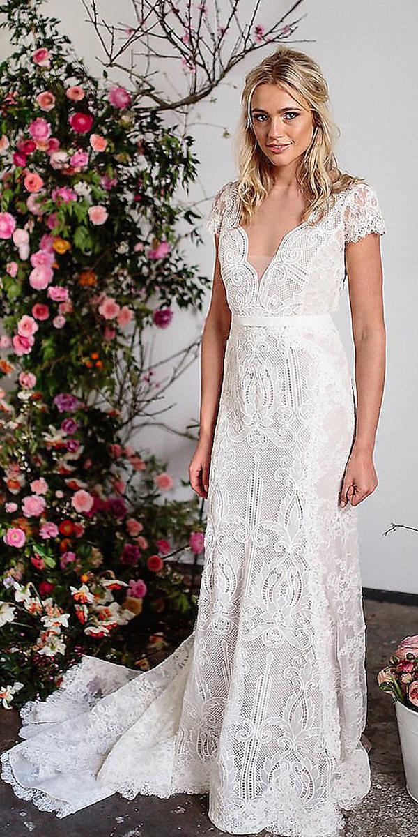 karen willis holmes wedding dresses cap sleeves v neckline lace floral embellishment with train