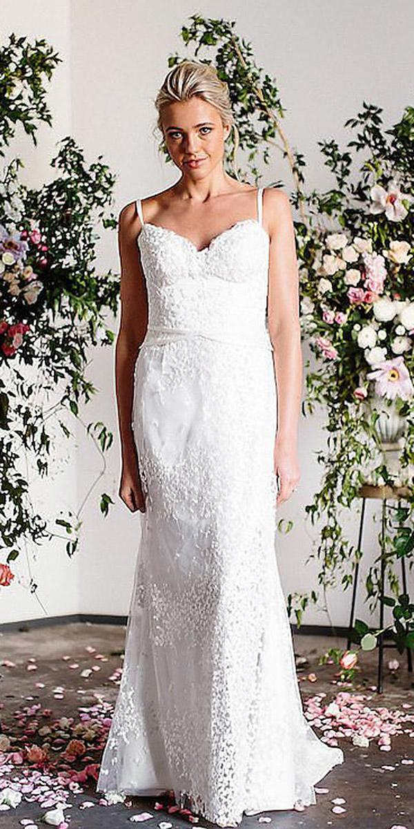 karen willis holmes wedding dresses spsgetti straps sweetheart lace floral
