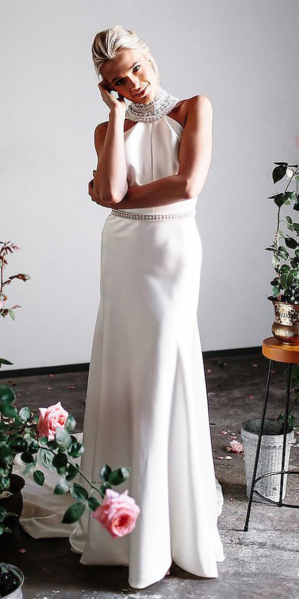 karen willis holmes wedding dresses straight beaded jewellery neck satin skirt elegant