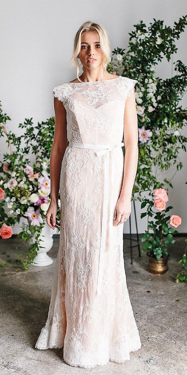 karen willis holmes wedding dresses straight cap sleeves full lace blush