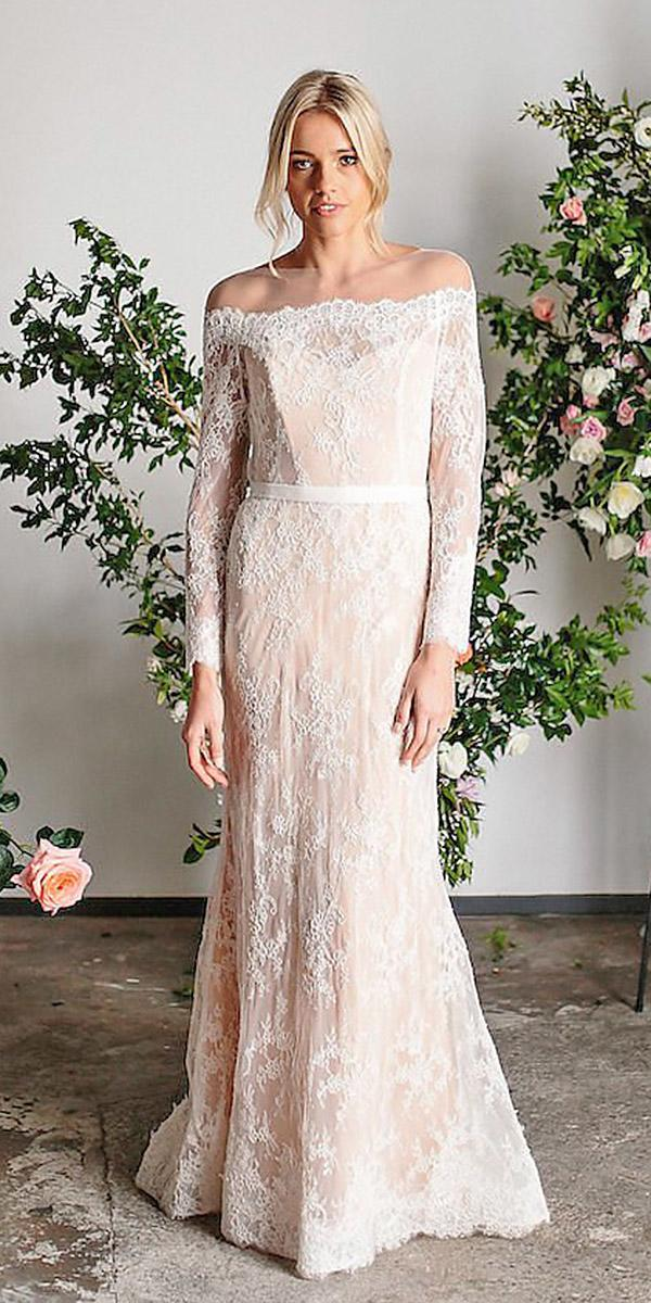 karen willis holmes wedding dresses with long sleeves full lace blush