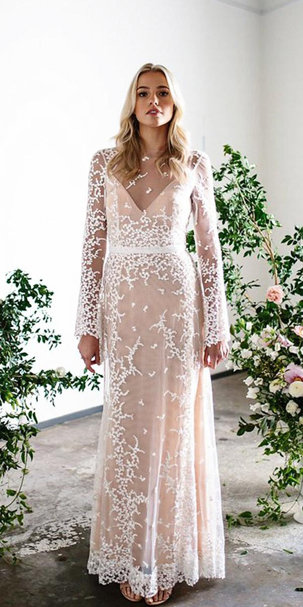 karen willis holmes wedding dresses with long sleeves sweetheart lace floral embellishment