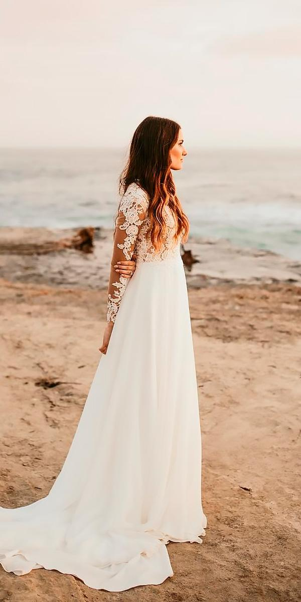 lace a line with long sleeves beach wedding dresses chase sevey