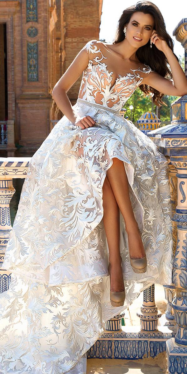 lace a line with v neckline and tattoo effect cap sleeves with train crystal design wedding dresses