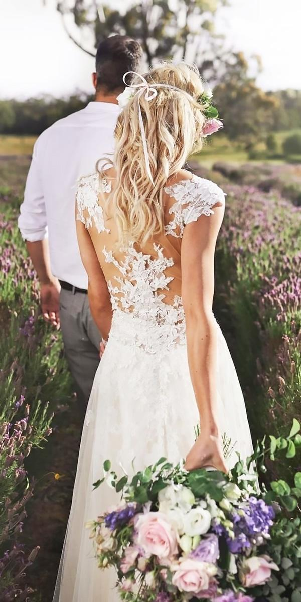 lace backless with short sleeves beach wedding dresses nicole spose