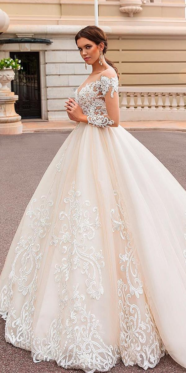 lace blush ball gown with illusion sweetheart and sleeves with train 2018 crystal design wedding dresses