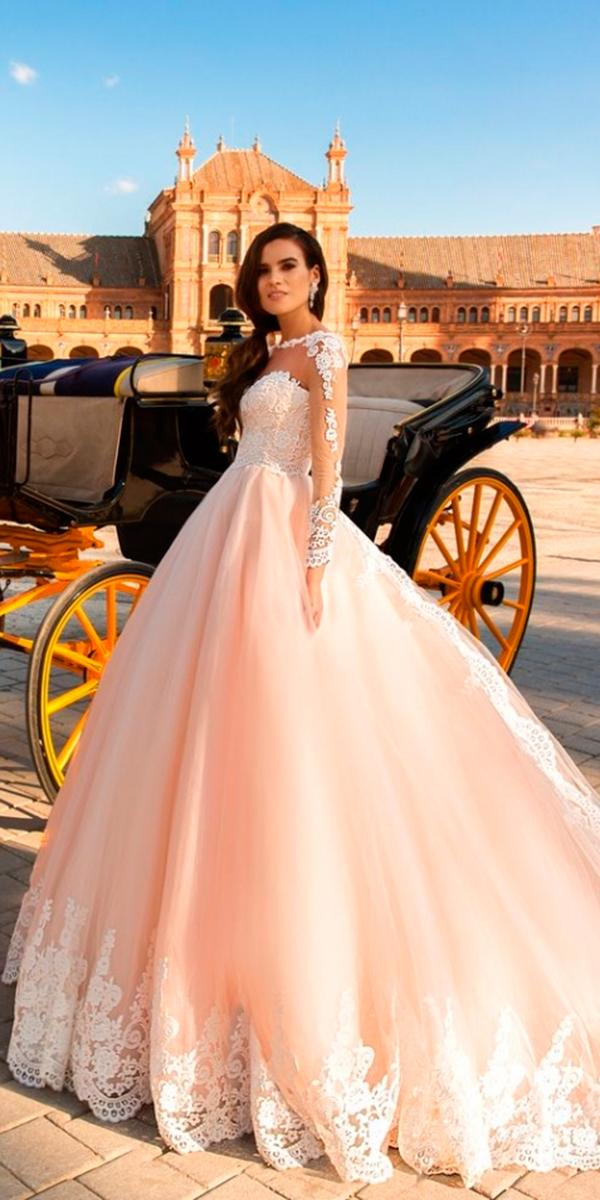 lace blush ball gown with illusion sweetheart and tattoo effect sleeves with train crystal design wedding dresses