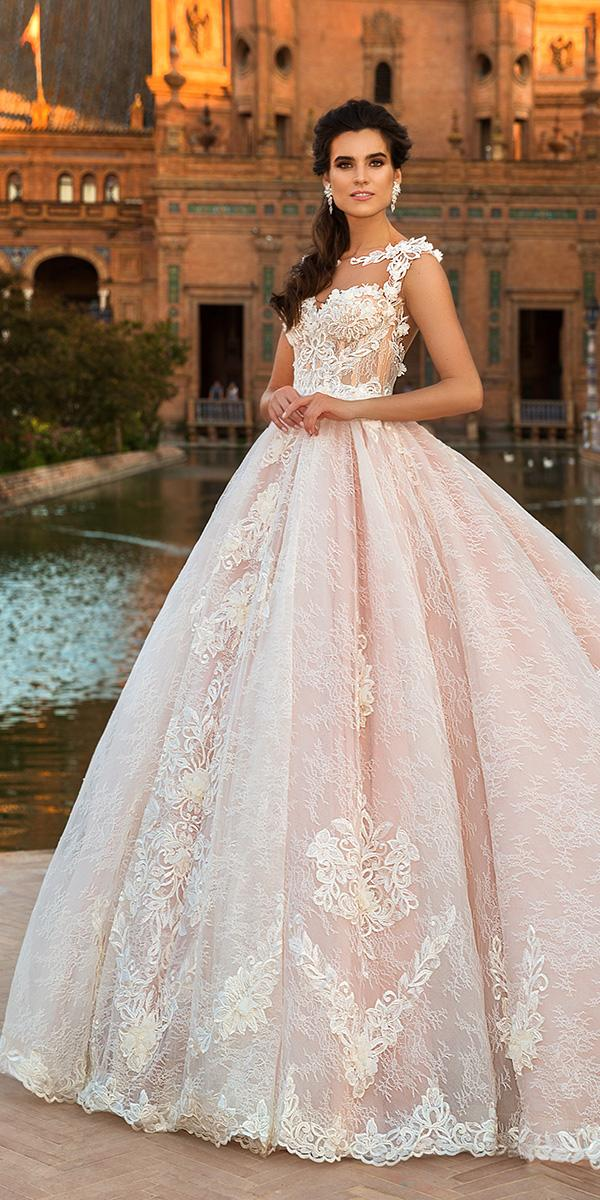 lace blush ball gown with illusion sweetheart and train 2017 crystal design wedding dresses